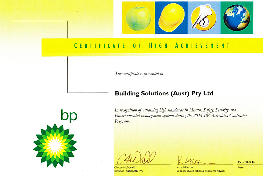 BP Certificate of High Achievement 2014